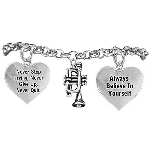 """the perfect gift """"trumpet"""" never give up, never quit"""" hypoallergenic safe - nickel & lead free"""