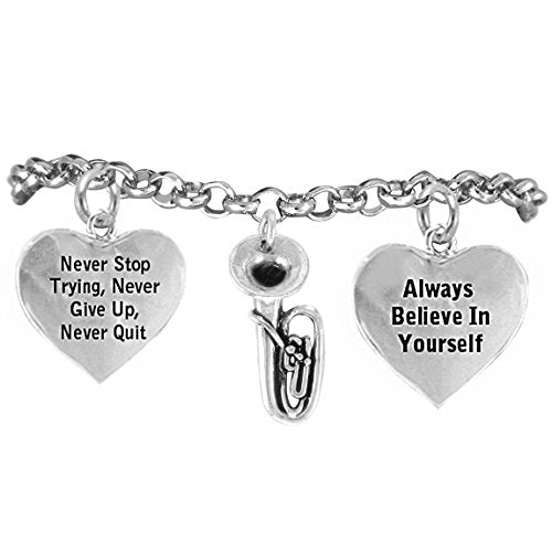 "the perfect gift ""tuba"" never give up, never quit"" hypoallergenic safe - nickel & lead free"