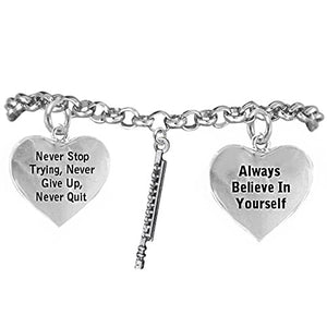 "The Perfect Gift ""Flute"" Never Give Up, Never Quit"" Adjustable Safe - Nickel & Lead Free"