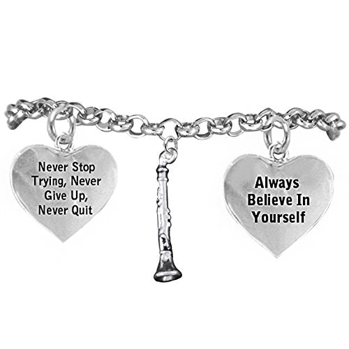 "the perfect gift ""clarinet"" never give up, never quit"" hypoallergenic safe - nickel & lead free"