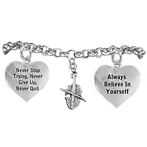 """the perfect gift """"violin"""" never give up, never quit"""" adjustable bracelet, safe - nickel & lead free"""