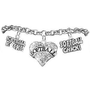 "Softball Rocks ""Softball Chick"" Hypoallergenic Safe, Adjustable Bracelet"