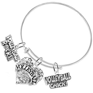 "Volleyball Rocks ""Volleyball Chick"" Adjustable, Safe - Hypoallergenic, Nickel, Lead &Cadmium Free"