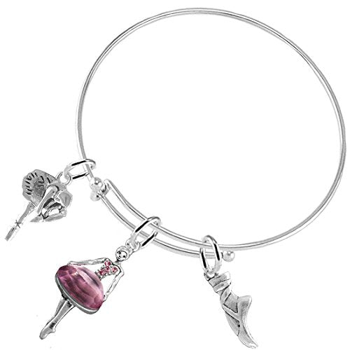 ballet 3 charm adjustable bracelet hypoallergenic. safe -nickel and lead free!