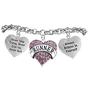 "Runner Hypoallergenic ""Never Stop Trying"" ""Never Give Up"" Bracelet, Safe - Nickel & Lead Free."