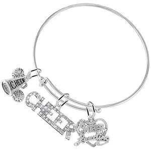 Cheer 3 Charm Bracelet, Safe - Hypoallergenic, Nickel, Lead & Cadmium Free