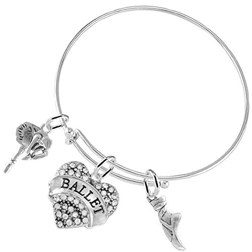 Ballet 3 Charm Adjustable Bracelet Hypoallergenic. Safe -Nickel, Lead and Cadmium Free!