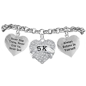 "5 K Runner Hypoallergenic ""Never Stop Trying"" ""Never Give Up"" Bracelet, Safe - Nickel & Lead Free."