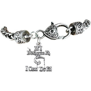 "Gymnast ""If I Believe It, I Can Do It"" Charm Bracelet Safe - Nickel & Lead Free!"