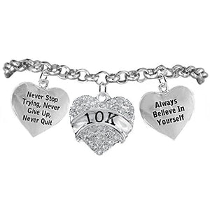 "10 K Runner Hypoallergenic ""Never Stop Trying"" ""Never Give Up"" Bracelet, Safe - Nickel & Lead Free."