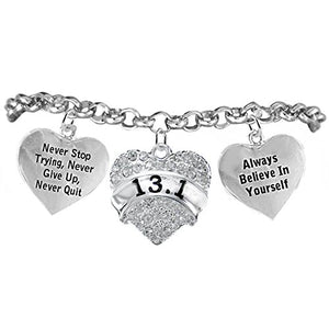 "13.1 Runner Hypoallergenic ""Never Stop Trying"" ""Never Give Up"" Bracelet, Safe - Nickel & Lead Free."