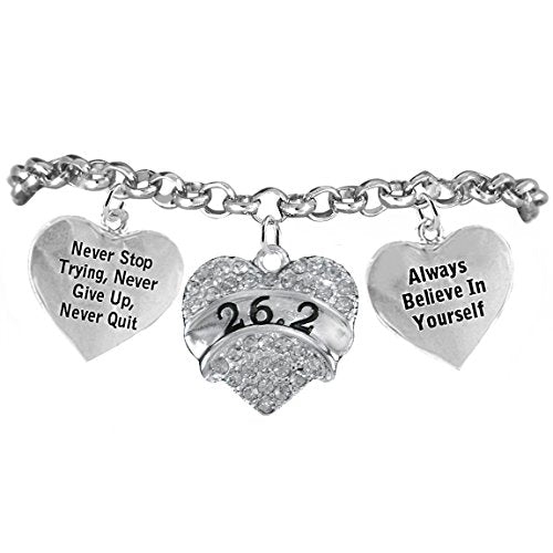 """26.2 runner hypoallergenic """"never stop trying"""" """"never give up"""" bracelet, safe - nickel & lead free."""