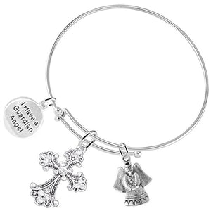 "Christian ""Guardian Angel"" 3 Charm Adjustable Bracelet Hypoallergenic, Safe - Nickel & Lead Free"