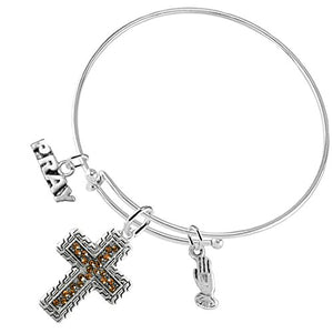 "Christian ""Crystal Topaz Stone"", 3 Charm Adjustable Bracelet Hypoallergenic, - Nickel & Lead Free"