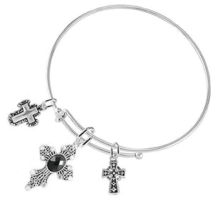"Christian ""Crystal Jet Black Stone"", 3 Charm Adjustable Bracelet Safe - Nickel & Lead Free."