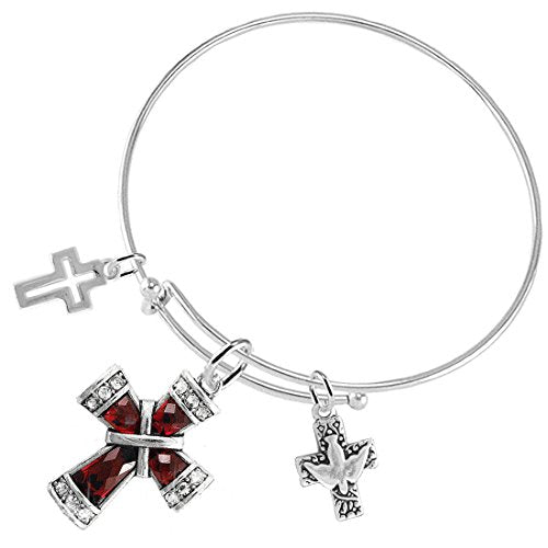 Dove of Peace Christian Crystal Ruby Stone, 3 Charm Adjustable Bracelet Safe - Nickel & Lead Free.