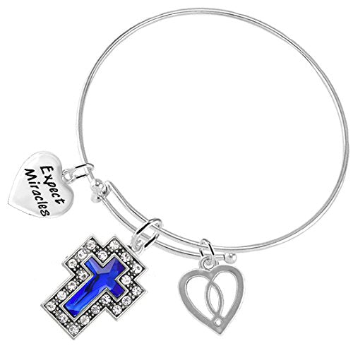 Expect Miracles Christian Crystal Blue Sapphire Stone, 3 Charm Bracelet Safe - Nickel & Lead Free.