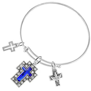 Dove of Peace Christian Crystal Blue Sapphire Stone, 3 Charm Bracelet Safe - Nickel & Lead Free.