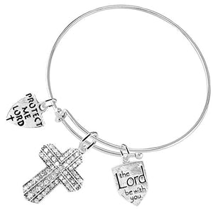 The Lord Be with You Christian Crystal Stones, 3 Charm Adjustable Bracelet Safe - Nickel & Lead Free