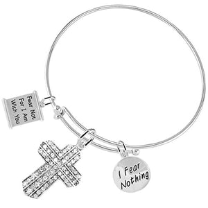 Fear Not for I Am with You Christian Crystal Stones, 3 Charm Adjustable Bracelet Nickel & Lead Free