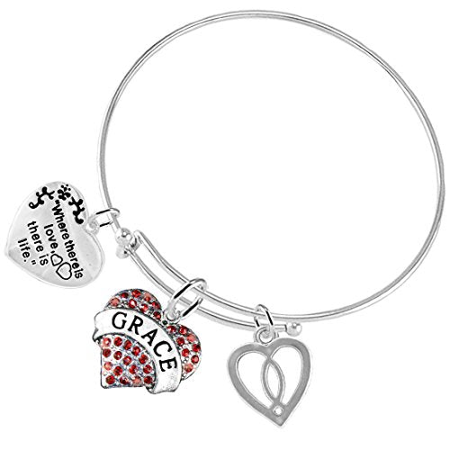 """where there is love there is life """"grace"""" christian, 3 charm adjustable, safe - nickel free"""