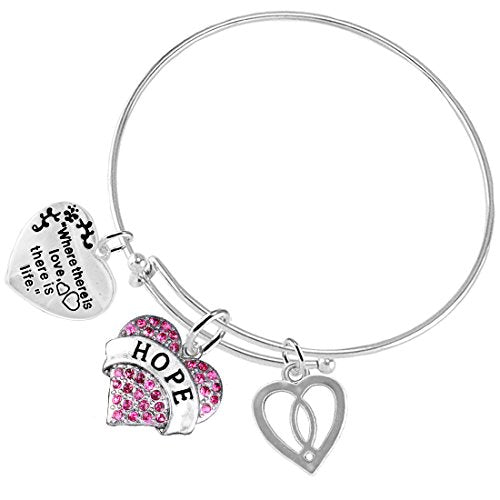 """where there is love there is life """"hope"""" christian, 3 charm adjustable safe - nickel free"""