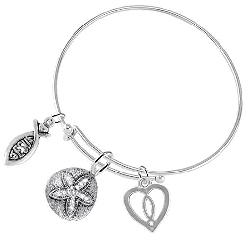 The Legend of The Sand Dollar Christian, 3 Charm Adjustable Hypoallergenic Safe - Nickel & Lead Free
