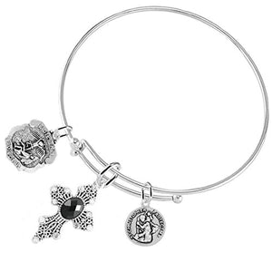 "Patrolman's Wife ""Crystal Jet Black Stone"", 3 Charm Adjustable Bracelet Safe - Nickel & Lead Free."