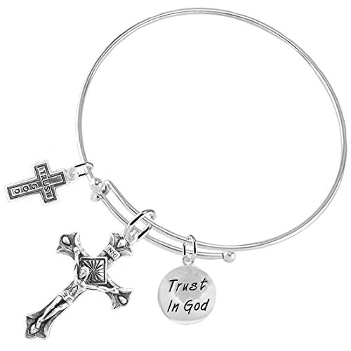 "trust in god ""crucifix"" christian, 3 charm adjustable bracelet safe - nickel & lead free."