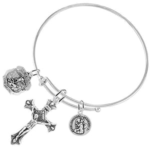 "St Michael & St. Christopher ""Crucifix"" Christian, 3 Charm Bracelet Safe - Nickel & Lead Free."