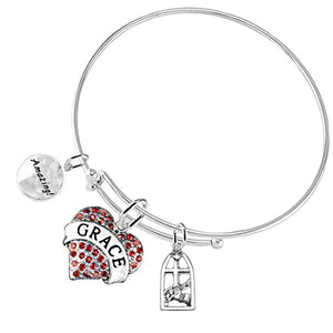 "Amazing ""Grace"" Christian, 3 Charm Adjustable Hypoallergenic, Safe - Nickel & Lead Free"