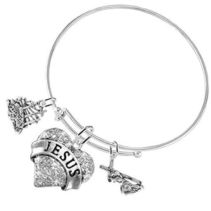"Golgotha ""Jesus Carrying Cross"", 3 Charm Adjustable Bracelet, Safe - Nickel & Lead Free"