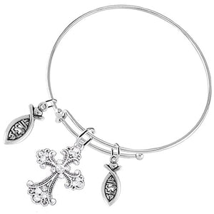"Christian ""Crystal Cross"" 2 Jesus Fish, 3 Charm Adjustable Bracelet Safe - Nickel & Lead Free"