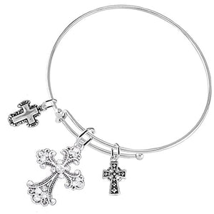 "Christian ""Three Crosses"", 3 Charm Adjustable Bracelet Hypoallergenic, Safe - Nickel & Lead Free"