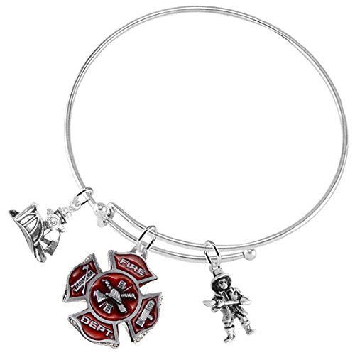 Firefighter's 3 Charm Adjustable Bracelet, Safe - Nickel, Lead & Cadmium Free!