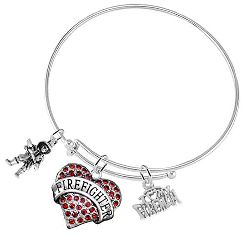 "firefighter's i love my firemen"" crystal red heart adjustable bracelet, safe - nickel, free!"