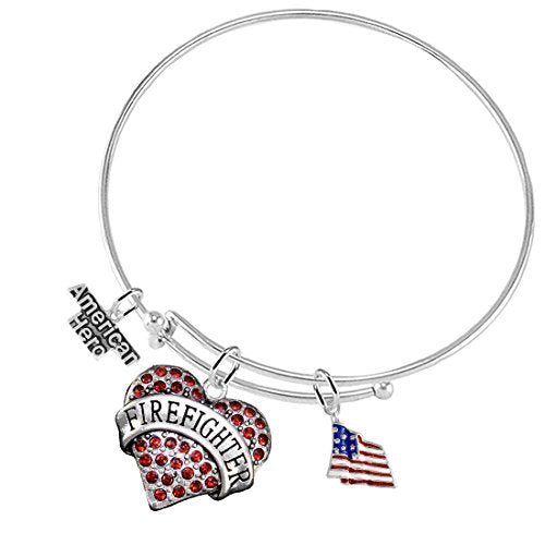 Firefighter's Crystal Red Heart Adjustable Bracelet, Safe - Nickel, Free!