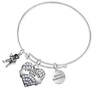 "Firefighter's Wife ""Keep My Husband Safe"" ©2016 Adjustable Bracelet, Safe - Nickel, Free!"