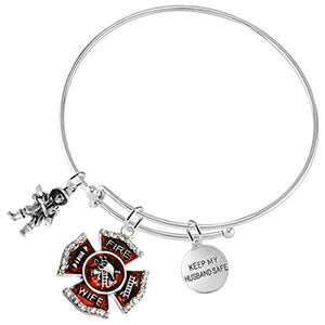 "Fire Wife ""Keep My Husband Safe"", Firefighter, ©2016 Adjustable Hypoallergenic, Safe - Nickel Free"