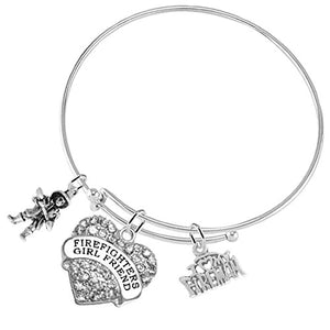 "Firefighter's GIRLFRIEND ""I Love My Fireman"", Adjustable Hypoallergenic, Safe - Nickel Free"