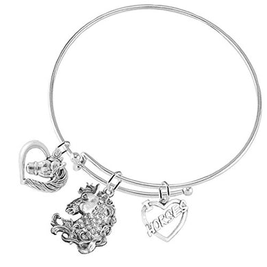 I Love Horses 3 Charm Adjustable Bracelet, Safe - Nickel & Lead Free
