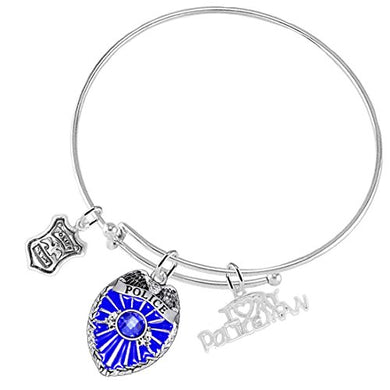 I Love My Policeman Bracelet, Hypoallergenic Adjustable Nickel & Lead Free