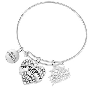"Deputy Sheriff's Wife ""Keep My Husband Safe"", Bracelet, Hypoallergenic Adjustable Nickel & Lead Free"