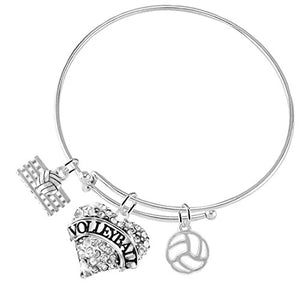 Volleyball Crystal Heart Adjustable Bracelet, Safe - Hypoallergenic, Nickel, Lead & Cadmium Free