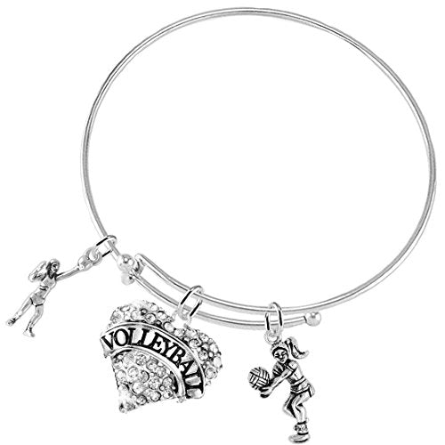Crystal Heart Volleyball Adjustable Bracelet, Safe - Hypoallergenic, Nickel, Lead & Cadmium Free