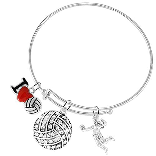 i love volleyball crystal volleyball, adjustable, safe - hypoallergenic, nickel & lead free