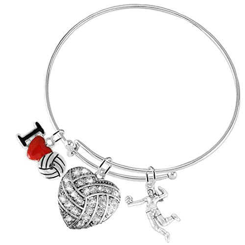 i love volleyball crystal heart volleyball, adjustable, safe - nickel & lead free