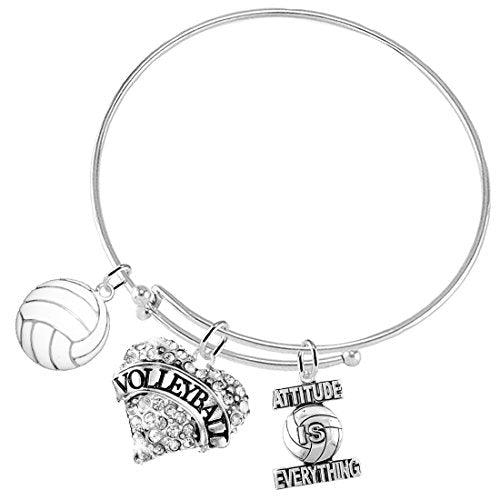 "attitude is everything ""volleyball crystal heart"" adjustable bracelet, safe - nickel free"