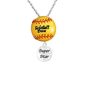 "Softball Diva ""Super Star"" Hypoallergenic Adjustable Necklace Safe - Nickel & Lead Free"