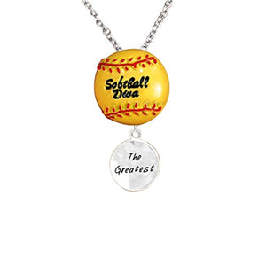 "Softball Diva ""The Greatest"" Hypoallergenic Adjustable Necklace Safe - Nickel & Lead Free"